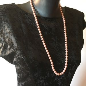 Vintage Kissaka glass pearl necklace in rose pink
